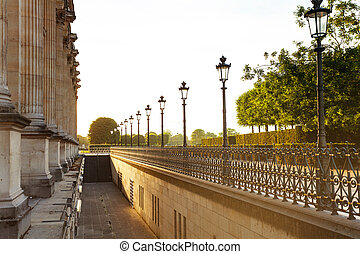 Fence in the park near Louvre Palace , Paris