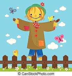 fence., legno, illustrazione, campo, dietro, vettore, spaventapasseri