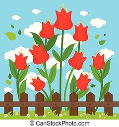fence., legno, illustrazione, dietro, vettore, fondo, fiori, rosso