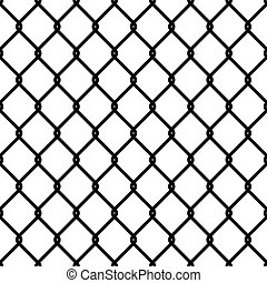 Fence link pattern. Seamless chain texture black mesh wallpaper security wall perimeter industrial safety metal grid, vector isolated