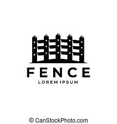 fence logo line art illustration vector design