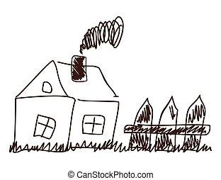 fence., maison, illustration, enfants, vecteur, dessin