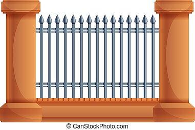 Fence metal gate icon, cartoon style