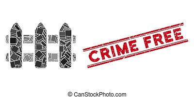 Fence Mosaic and Distress Crime Free Stamp with Lines