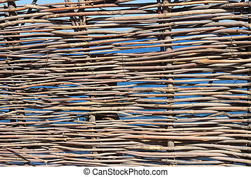 fence of twigs in the background