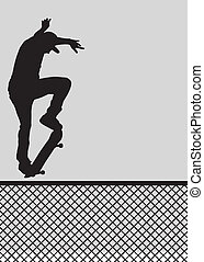 Fence Ollie - Skater silhouette ollie'ing over a fence. ...