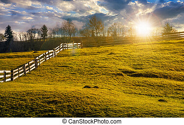 fence on grassy hillside in autumn at sunset - wooden fence...