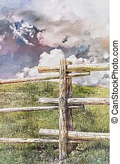 fence on the hilly
