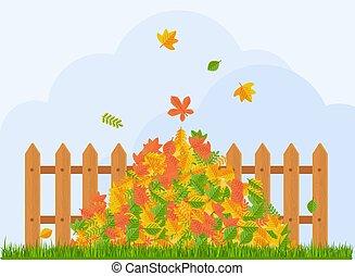 fence., otoño sale, mentiras, debajo, vector, pila
