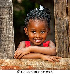 fence., peu, bois, africaine, penchant, girl