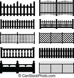 A set of fences and wall brick design.