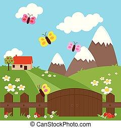fence., prato, legno, casa paese, vettore, illustrazione, piccolo