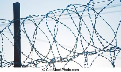 fence prison strict regime silhouette barbed wire. illegal...