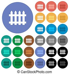 Fence round flat multi colored icons