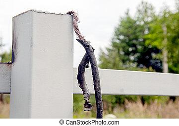 fence., schwarz, drähte, metall, auf, macro., band, isolieren, schließen, hintergrund