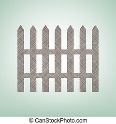 Fence simple sign. Vector. Brown flax icon on green background with light spot at the center.