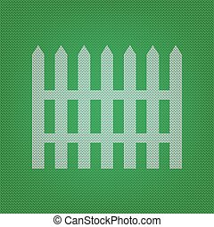 Fence simple sign. white icon on the green knitwear or woolen cloth texture.