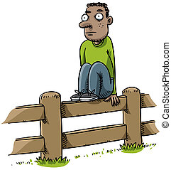 Fence Sitter - A cartoon man sitting on a fence.