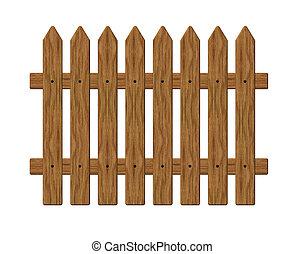 fence - wooden garden barrier on white background - 3d...