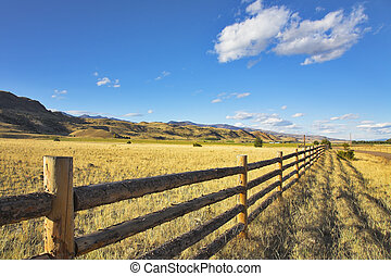 Fence.  -  A fence for cows on the American farm