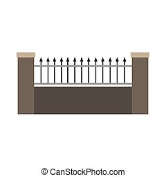 Fence stone material illustration vector icon element structure. Cement vintage equipment garden architecture