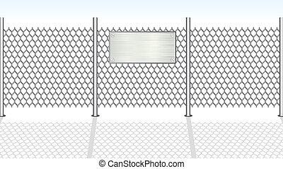fence., vector, chainlink, ilustración