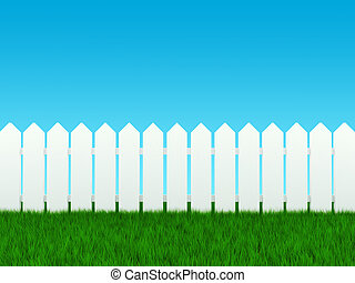 White fence on grass and blue sky