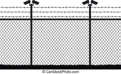 Fence wire mesh barbed wire, vector silhouette. Street camera on the pillar. No passage, no thoroughfare