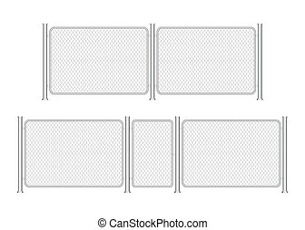 Fence wire metal chain link. Prison barrier, secured property. Vector stock illustration.
