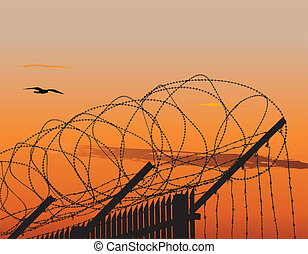 Fence with barbed wire - Vector illustration of metallic...