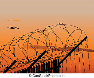 Fence with barbed wire - Illustration of metallic fence...