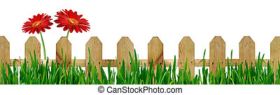 Fence with grass and flowers