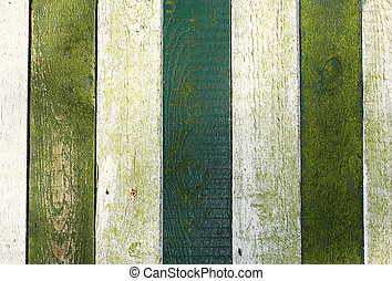 Fence with green and white painted wood
