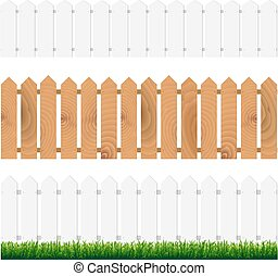 Fence With Green Grass And Blue Sky