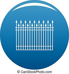 Fence with metal rod icon blue vector