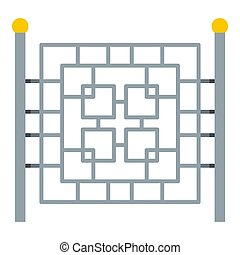 Fence with metal square icon, flat style.