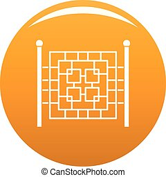 Fence with metal square icon vector orange