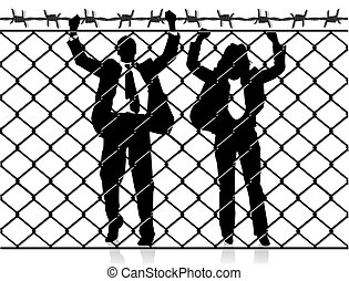 Fence with people