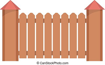 Fence with turret icon, flat style. - Fence with turret...