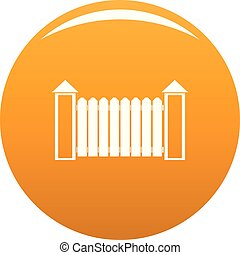 Fence with turret icon vector orange - Fence with turret...