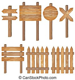 Fence, wooden signboards, arrow sign. Vector set.