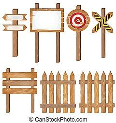 Fence, wooden signboards, arrow sign, target dart. Vector set.
