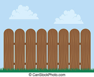 Wooden fence with sky background