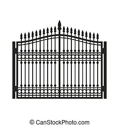 Fence Wrought Iron Gate. Old Style Door. Vector