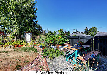 Fenced Back yard with vegetable beds.