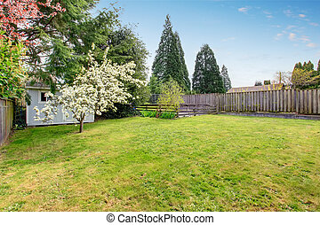 Fenced backyard with grass filled garden and small shed.