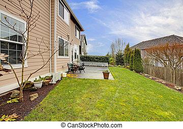 Fenced backyard with patio area