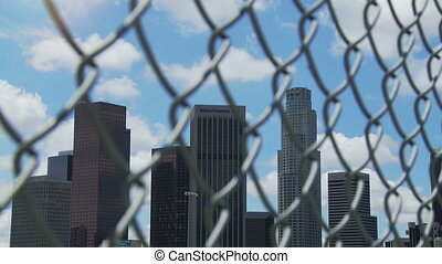 Fenced In Los Angeles Time-lapse - Time-lapse of downtown...