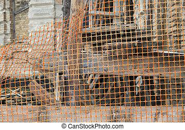 fenced with orange plastic