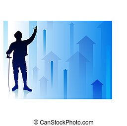 Fencer on Abstract Arrow Background
